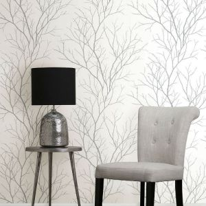 2773-455922 Brewster Wallcovering Advantage Neutral Black White Zola Tree Branch Wallpaper Room Setting