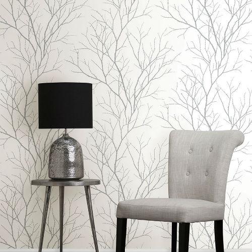 2773-455922 Brewster Wallcovering Advantage Neutral Black White Zola Tree Branch Wallpaper Room Setting