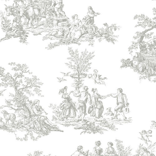 CH28245 Patton Wallcovering Norwall Manor House Cottage Living Toile Wallpaper Grey