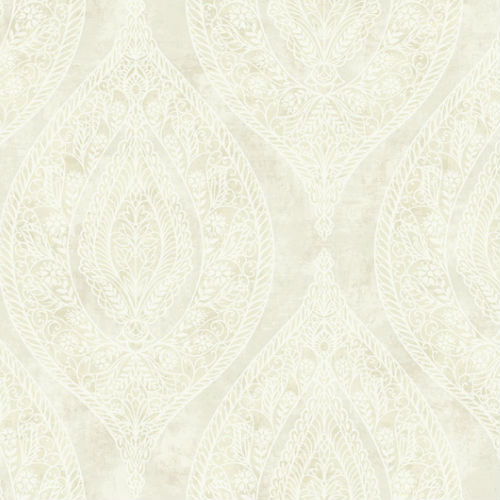 G31105 Seabrook Wallcovering Collins and Company Monaco 2 Filigree Lace Ogee Wallpaper Off-White
