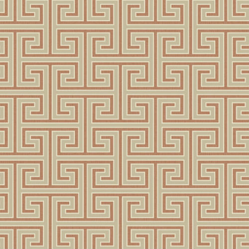 GC31801 Seabrook Wallcovering Colilns and Company Monaco 2 Geometric Maze Wallpaper Terracotta