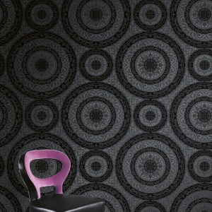 GC32107 Seabrook Wallcovering Collins and Company Monaco 2 Large Medallion Wallpaper Room Setting