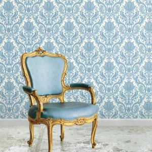MD29431 Norwall Patton Wallcovering Manor House Paisley Damask Wallpaper Room Setting