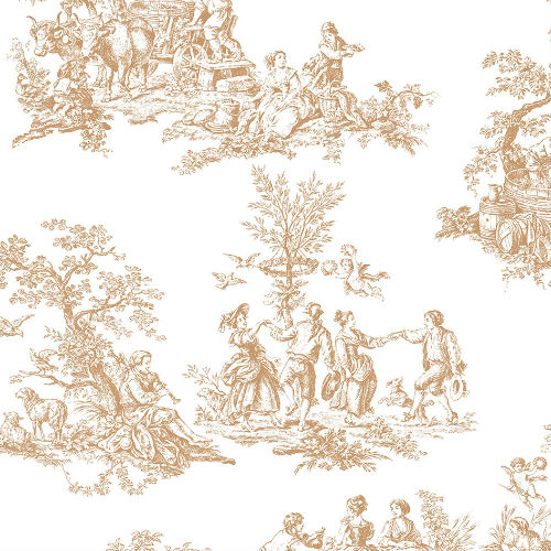 MH36501 Patton Wallcovering Norwall Manor House Cottage Living Toile Wallpaper Gold