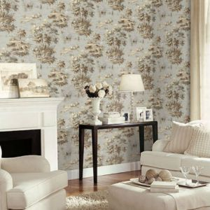 MH36514 Norwall Patton Wallcovering Manor House Lakeside Toile Wallpaper Room Setting