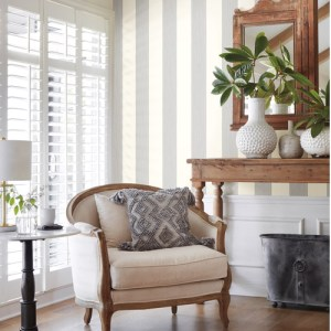 MK1119 York Wallcoverings Joanna Gaines Magnolia Home 3 Artful Prints and Patterns Thread Stripe Wallpaper Room Setting