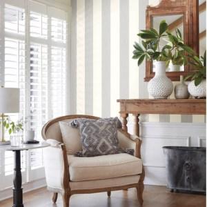 MK1119 York Wallcoverings Joanna Gaines Magnolia Home 3 Artful Prints and Patterns Thread Stripe Wallpaper Room Setting