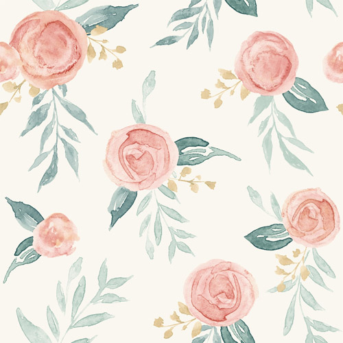 MK1126 York Wallcoverings Joanna Gaines Magnolia Home 3 Artful Prints and Patterns Watercolor Roses Wallpaper Peach