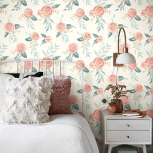 MK1126 York Wallcoverings Joanna Gaines Magnolia Home 3 Artful Prints and Patterns Watercolor Roses Wallpaper Room Setting