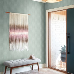 MK1132 York Wallcoverings Joanna Gaines Magnolia Home 3 Artful Prints and Patterns Vantage Point Wallpaper Room Setting