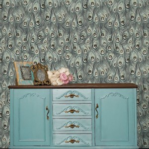 MH36519 Norwall Patton Wallcoveirng Manor House Peacock Feathers Wallpaper Room Setting