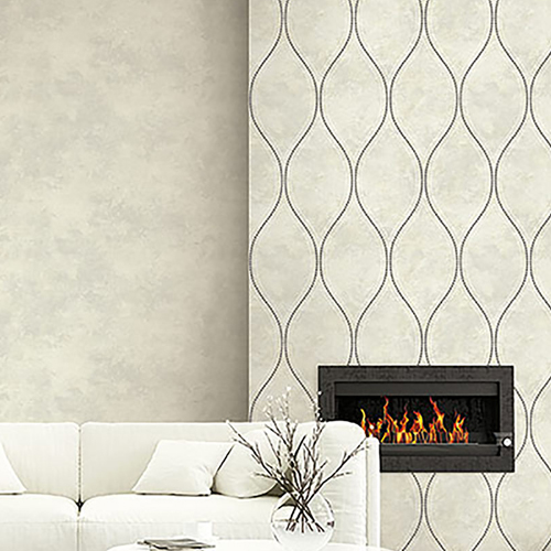 2765-BE40205 Brewster Wallcovering Kenneth James Geo Tex Eira Marble Ogee Wallpaper Ivory Room Setting