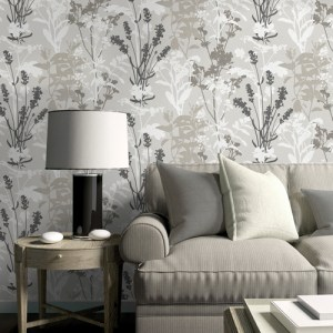 2811-24571 Brewster Wallcovering Advantage Nature Santa Lucia Wild Flowers Wallpaper Room Setting