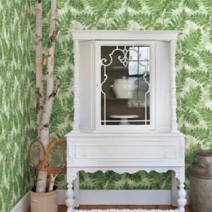 2811-LV04352 Brewster Wallcovering Advantage Nature Cyathea Fern Wallpaper Room Setting