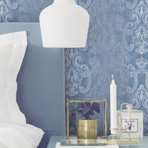 2810-SH01044 Brewster Wallcovering Advantage Tradition Ariana STriped Damask Wallpaper Dark Blue Room Setting