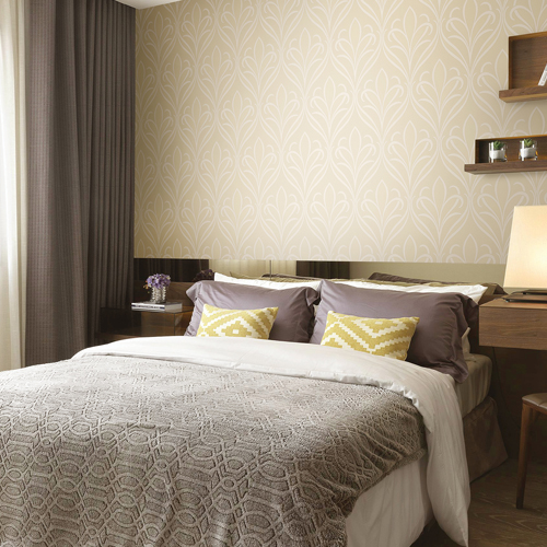 2810-XSS0502 Brewster Wallcovering Advantage Tradition Vivian Nouveau Damask Wallpaper Neutral Room Setting