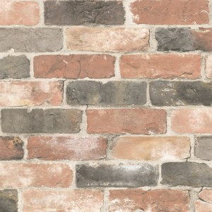 2767-22320 Brewster Wallcovering Techniques and Finishes 3 Adams Reclaimed Brick Wallpaper Multi-Color
