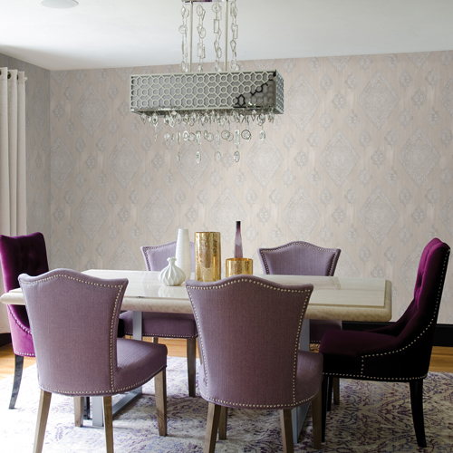 2810-SH01071 Brewster Wallcovering Advantage Tradition Leana Medallion Wallpaper Dove Room Setting