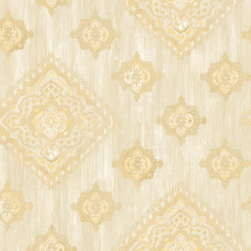 2810-SH01076 Brewster Wallcovering Advantage Tradition Leana Medallion Wallpaper Gold