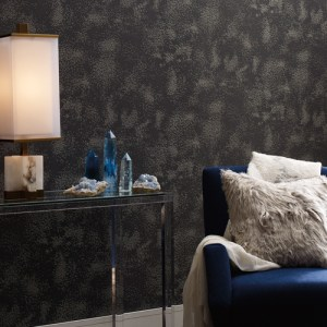 VA1225 York Wallcovering Aviva Stanoff Signature Collection Stardust Wallpaper Grey Room Setting