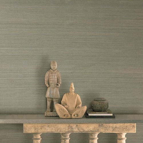 2732-54752 Brewster Wallcovering Kenneth James Canton Road Grasscloth Salisbury Grasscloth Wallpaper Grey Room Setting