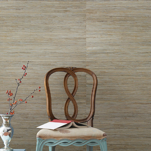 2732-65437 Brewster Wallcovering Kenneth James Canton Road Grasscloth Taizhou Grasscloth Wallpaper Blue Room Setting