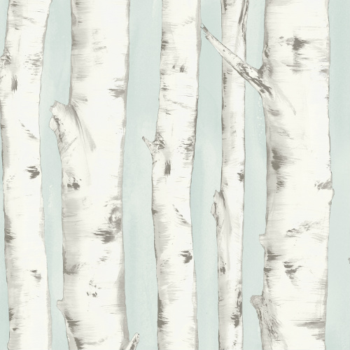 3118-12602 rewster Wallcovering Chesapeake Birch and Sparrow Pioneer Birch Wallpaper Light Blue