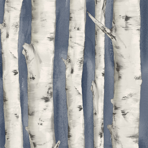 3118-12604 rewster Wallcovering Chesapeake Birch and Sparrow Pioneer Birch Wallpaper Denim