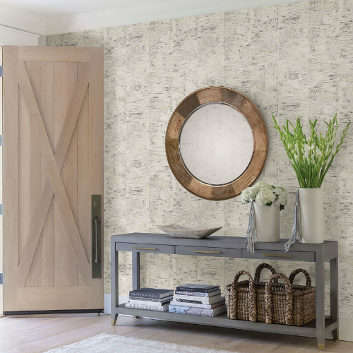 3118-12641 Brewster Wallcovering Cheseapeake Birch and Sparrow Champlain Grid Wood Wallpaper Cream Room Setting