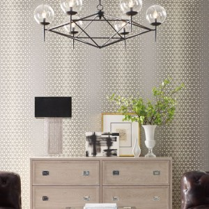 OL2750 York Wallcovering Candice Olson Journey Rhythmic Wallpaper Silver Room Setting
