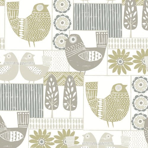 2821-25116 Brewster Wallcovering A Street Prints Folklore Hennika Patchwork Wallpaper Grey