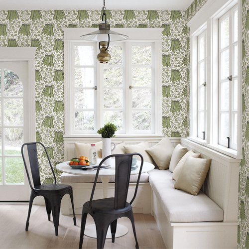 2821-25120 Brewster Wallcovering A Street Prints Folklore Peas in a Pod Garden Wallpaper Olive Room Setting