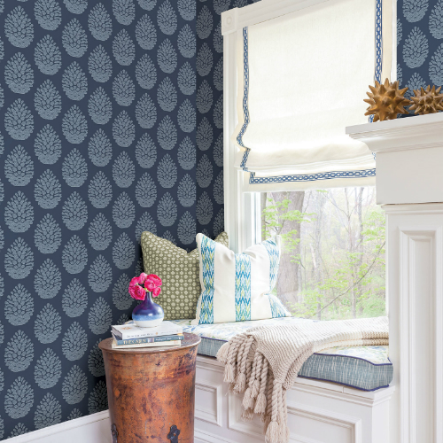 3118-25092 Brewster Wallcovering Birch and Sparrow Totem Pinecone Wallpaper Navy Room Setting