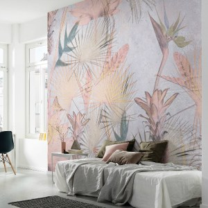 8-212 Brewster Wallcovering Komar Tropical Concrete Wall Mural Room Setting