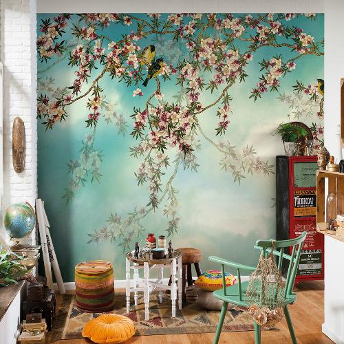 8-213 Brewster Wallcovering Komar Sakura Wall Mural Room Setting