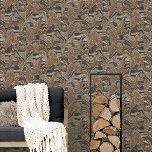 G67975 Norwall Patton Wallcovering Organic Textures Agate Tile Wallpaper Lavish Gold Room Setting