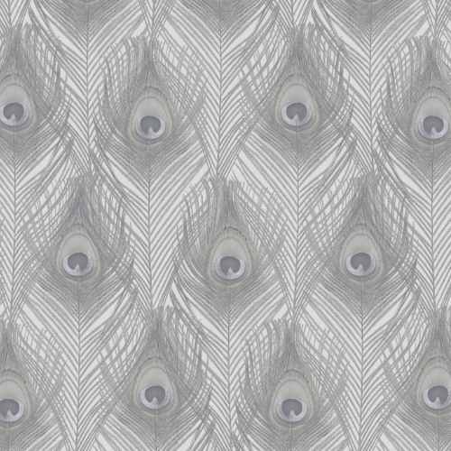 G67977 Norwall Patton Wallcovering Organic Textures Peacock Wallpaper Grey