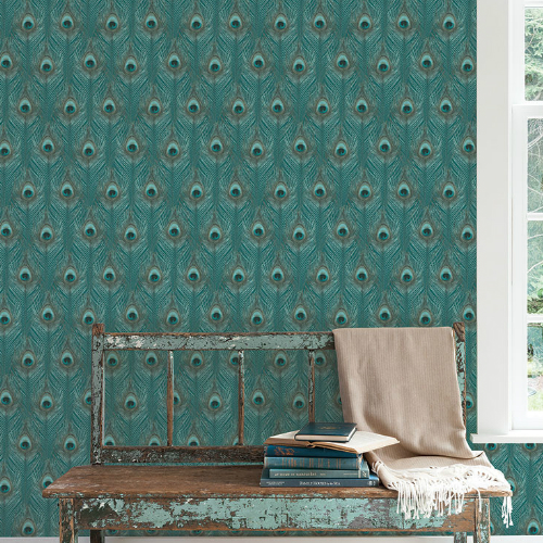 G67978 Norwall Patton Wallcovering Organic Textures Peacock Wallpaper Turquoise Room Setting