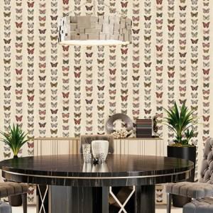 G67992 Norwall Patton Wallcovering Organic Textures Jewel Butterflies Stripe Wallpaper Rust Room Setting