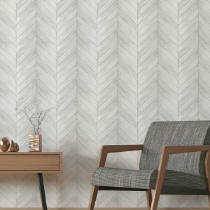 G68001 Norwall Patton Wallcovering Organic Texture Chevron Wood Wallpaper Light Grey Room Setting