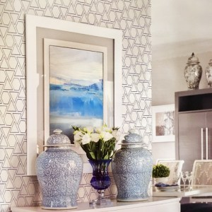 MB30112 Seabrook Wallcovering Beach House Sun Shapes Wallpaper Coastal Blue Room Setting