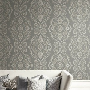 MB30300 Seabrook Wallcovering Beach House Nautical Damask Wallpaper Black Sands Room Setting