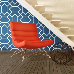 RMK9066WP York Wallcovering RoomMates Modern Geometric Peel and Stick Wallpaper Blue Room Setting