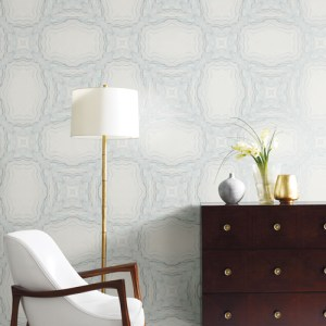 Y6230604 York Wallcovering Antonina Vella Natural Opalescence Stone Kaleidoscope Wallpaper Blue Room Setting