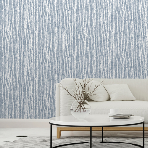 2813-24581 Brewster Wallcovering Advantage Kitchen Flay Birch Tree Wallpaper Navy Room Setting