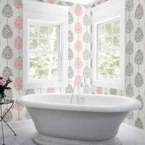 2821-24968 Brewster Wallcovering Advantage Bath Saar Trees Wallpaper Pink Room Setting