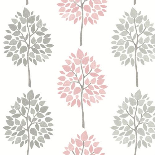 2814-24968 Brewster Wallcovering Advantage Bath Saar Trees Wallpaper Pink