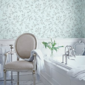 2814-24975 Brewster Wallcovering Advantage Bath Aaron Bird Trail Wallpaper Light Blue Room Setting