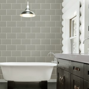 2814-M1123 Brewster Wallcovering Advantage Bath Neale Subway Tile Wallpaper Grey Room Setting