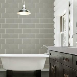 2814-M1123 Brewster Wallcovering Advantage Bath Neale Subway Tile Wallpaper Grey Room Setting